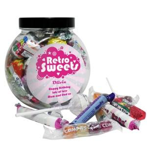Personalised Retro Pink Sweet Jar