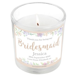 "Personalised Bridesmaid ""Floral Watercolour Wedding"" Scented Jar Candle"