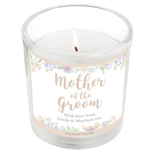 "Personalised Mother of the Groom ""Floral Watercolour Wedding"" Scented Jar Candle"
