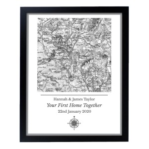 Personalised 1805 - 1874 Old Series Map Compass Black Framed Poster Print