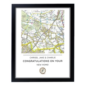Personalised Present Day Map Compass Black Framed Print