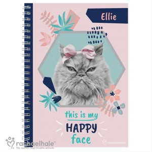 "Personalised Rachael Hale ""Happy Face"" Cat A5 Notebook"