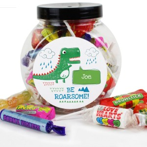 "Personalised ""Be Roarsome"" Dinosaur Sweet Jar"