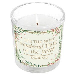 "Personalised ""Wonderful Time of The Year"" Christmas Scented Jar Candle"