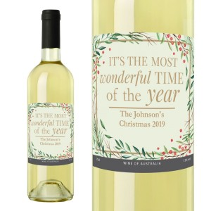 "Personalised ""Wonderful Time of The Year"" Christmas White Wine"