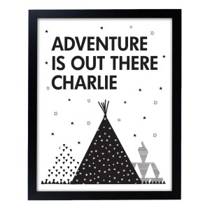 Personalised Adventure Is Out There Black Framed Print