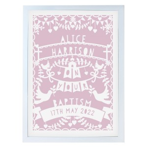 Personalised Pink Papercut Style A3 White Framed Print