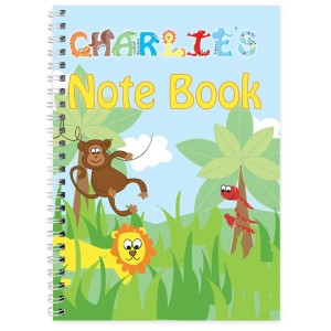 Personalised Blue Animal Alphabet - A5 Notebook