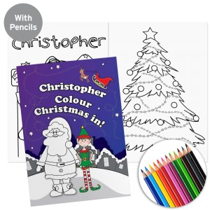 "Personalised ""It's Christmas"" Elf Colouring Book with Pencil Crayons"