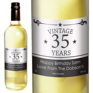 Personalised Vintage Numbers White Wine