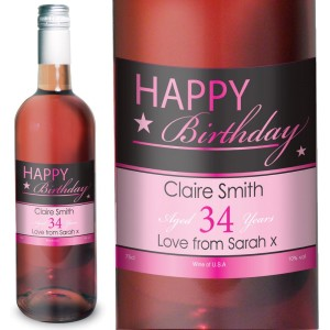 Personalised Happy Birthday Rose Wine