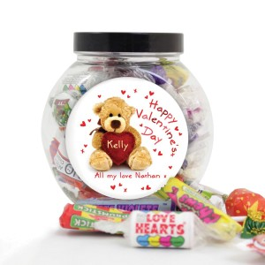 Personalised Teddy Heart Sweet Jar