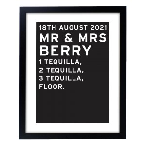 Personalised Typography Black Framed Poster Print