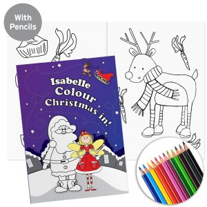 "Personalised ""It's Christmas"" Fairy Colouring Book with Pencil Crayons"