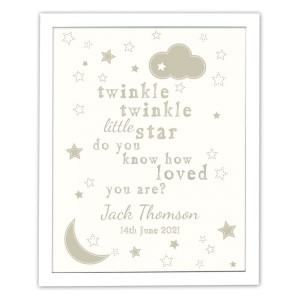 Personalised Twinkle Twinkle White Framed Print