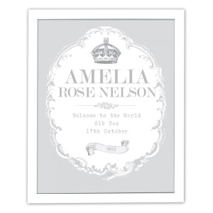 Personalised Royal Crown White Framed Poster Print