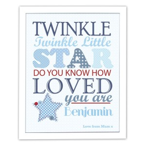 Personalised Twinkle Boys White Framed Poster Print