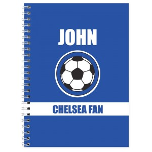 Personalised Dark Blue Football Fan A5 Notebook