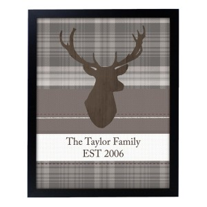Personalised Highland Stag Black Framed Print