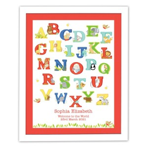 Personalised Animal Alphabet White Framed Print