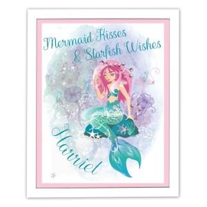 Personalised Mermaid White Framed Poster Print