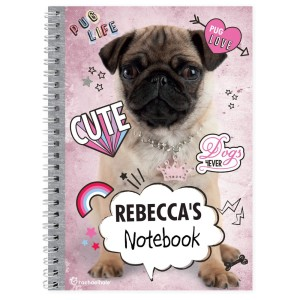 Personalised Rachael Hale Doodle Pug A5 Notebook