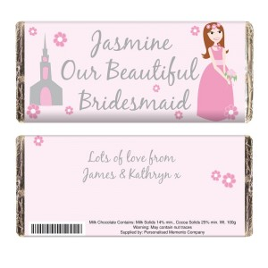 Personalised Beautiful Bridesmaid Milk Chocolate Bar