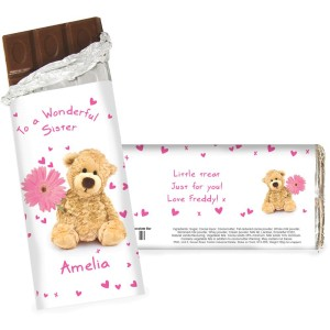 Personalised Teddy Flower Milk Chocolate Bar