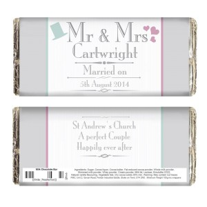 Personalised Decorative Wedding Mr & Mrs Milk Chocolate Bar