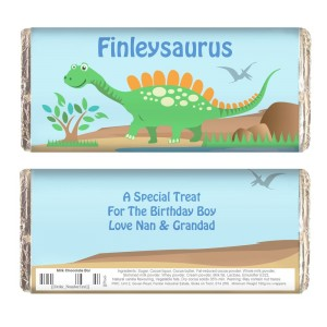 Personalised Dinosaur Milk Chocolate Bar