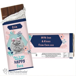 "Personalised Rachael Hale ""Happy Face"" Cat Chocolate Bar"