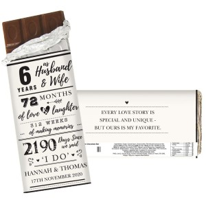 Personalised 6th Anniversary Milk Chocolate Bar