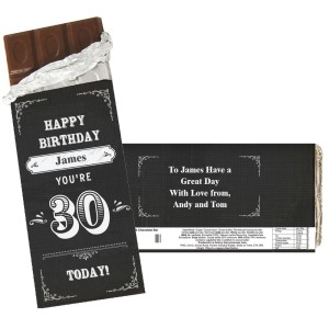 Personalised Birthday Vintage Typography Milk Chocolate Bar