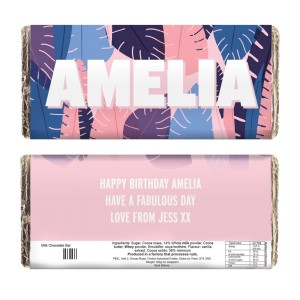 Personalised Palm Leaves Milk Chocolate Bar