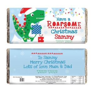 "Personalised Dinosaur ""Have a Roarsome Christmas"" Milk Chocolate Bar"