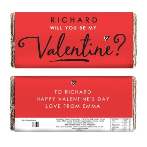Personalised Be My Valentine Milk Chocolate Bar