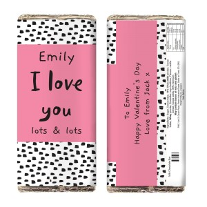 Personalised Abstract Pink Polka Milk Chocolate Bar