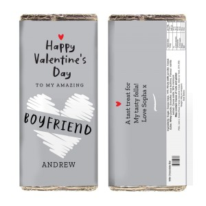 Personalised Valentine's Day Grey Design Milk Chocolate Bar