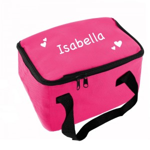 Personalised White Hearts Pink Lunch Bag
