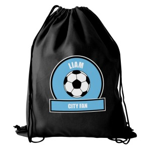 Personalised Sky Blue Football Fan Swim & Kit Bag