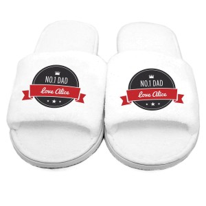 Personalised Red Banner Velour Slippers