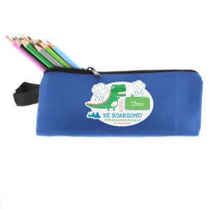 "Personalised ""Be Roarsome"" Dinosaur Blue Pencil Case"