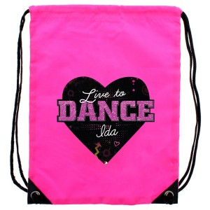 "Personalised ""Live to Dance"" Pink Kit Bag"