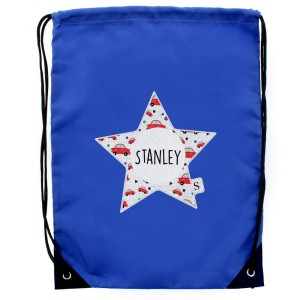 Personalised Star With Car Pattern Blue Kit Bag
