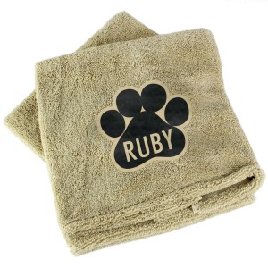 Personalised Paw Print Brown Microfiber Pet Towel