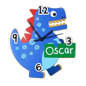 Personalised Dinosaur Shape Wooden Clock
