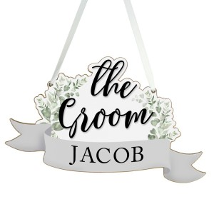 Personalised The Groom Wooden Hanging Decoration