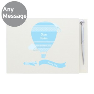 Personalised Up & Away Baby Boy Guest Book & Pen