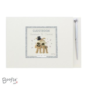 Personalised Boofle Wedding Hardback Guest Book & Pen