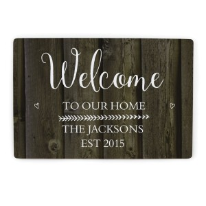 Personalised Walnut Wood Grain Metal Sign